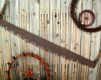 "Two Man Lumberjack Wide Belly Crosscut Saw, Both Wooden Handles: Large 60"" Serrated Rustic Industrial Steel Logging Tool, Great Wall Hanging"