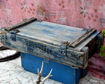 Vintage Blue Wooden Ammo Box / Crate: Rustic Industrial Explosive Ammunition Storage Chest -- Military, TNT, Grenade, Weapons, Stencil