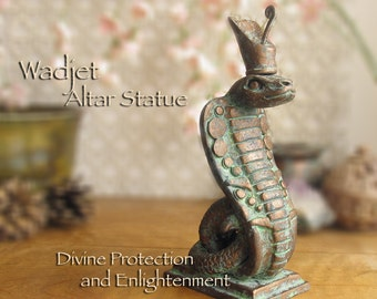 Wadjet Cobra Altar Statue with Deshret Crown - Wadjet as Divine Protection & Enlightenment - Handcrafted with Aged Bronze Patina Finish