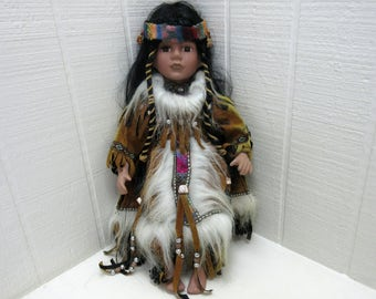 Vintage Native American Indian Girl Porcelain Doll