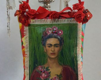 Frida, Kahlo, Beaded Hanging Pillow Ornament
