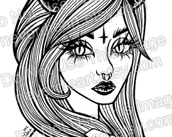 Digital Download Print Your Own Coloring Book Outline Page - Pretty Pin Up Demon Girl Tattoo Art