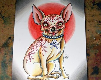 ORIGINAL 8x10 in. Painting - Dia De Los Muertos Day of the Dead Sugar Skull Chihuahua Dog Painting