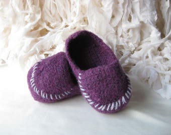 Purple Wool, Crochet Felted Moccasin Bootie, Sizes S M L,  Made to Order, Top Stitched, Babies First Loafers, Baby Toddler Moccasins