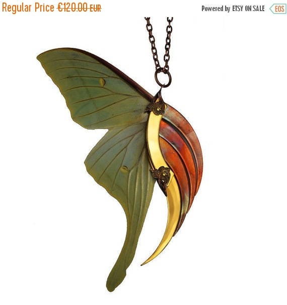 GRAND SALE / 50 % OFF / Urvashi / Luna Moth Large Gold and Copper Blade Wing Pendant / Free Shipping