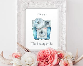 See the beauty in life Art Print Motivational Printable Art, Watercolor Printable Art Print Modern decor Instant Download, Digital File
