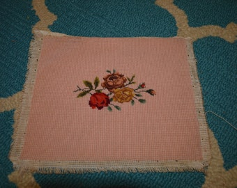 Vintage Finished Needlepoint Pink Backing with Roses