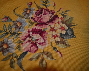 Vintage Needlepoint Chair Cover Gold Background with Centered Flowers