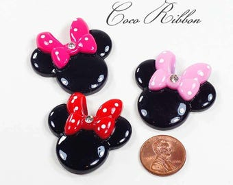 36mm 6~12 Pieces Large Rhinestone Polka Dot Bow Minnie Mouse Flatback Resin Cabochon (C26)