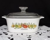 Vintage Corning Ware Spice of Life 1.5 Quart Casserole A-1.5-B with Glass Lid