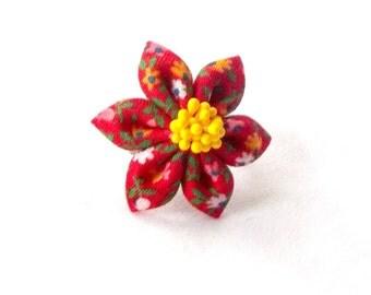 Cute Red Statement Ring Kanzashi Flower Adjustable Ring