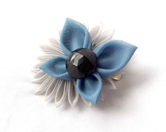 Unique Hair Clip Gray and Smoky Blue Butterfly and Kanzashi Flower