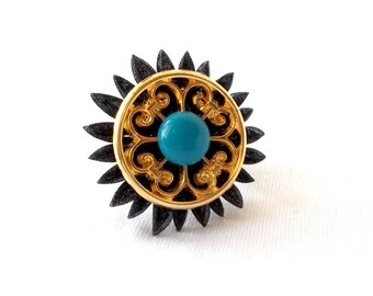 Big Fancy Cocktail Ring Black Gold Turquoise Kanzashi Flower Statement Jewelry
