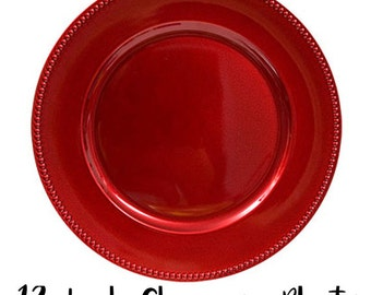 """13"""" Christmas Metallic Red Wedding Party Plate Chargers - Set of 6"""