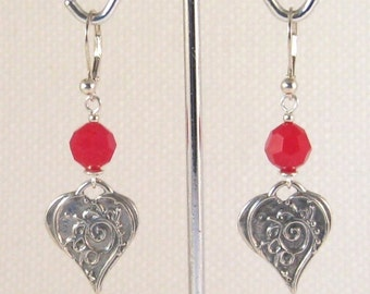 Red Coral Swarovski Crystals & Art Nouveau Heart Charm Earrings:  sweetheart gift, girlfriend gift, Valentine jewelry, Valentine's Day
