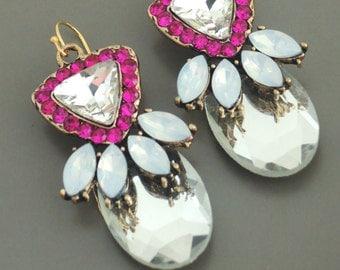 Statement Earrings - Crystal Earrings - Antique Gold Earrings - Fuschia Earrings - Opal Earrings - Handmade Jewelry