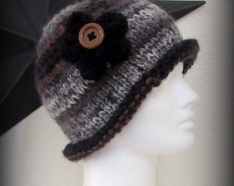 knit hat - hand knit hat - hat - gray knit hat - black knit hat - knit flower - brown knit hat - funky knit hat - funky hat - acrylic knit