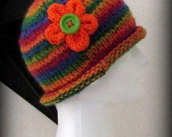 knit hat - knit cap - hand knit hat - beanie - wool knit hat - rainbow hat - Merino wool knit hat - Merino wool hat - Rainbow knit hat-chemo