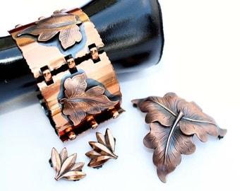 Vintage Leaf Motif Copper Link Bracelet, Brooch and Earrings