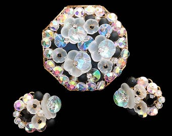 Clear Frosted Petal, Crystal Aurora Borealis Rivoil and Bead Brooch and Earring Demi