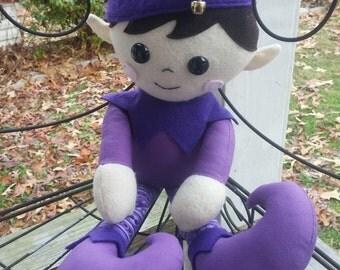 Christmas Elf, Purple Ed the Elf Christmas Doll 16 inches, Plush Doll, Stuffie, Decoration, Doll, Elf, Elf Doll