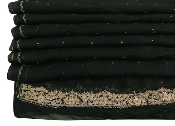 Vintage Shawl/Stole. Regency Style.  Dark Green Chiffon, gilt embroidery.