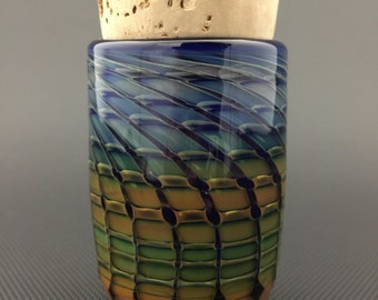 Honeycomb Glass Jar // Hand Blown Wrap & Rake // Cobalt Airtight Cork Jar