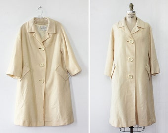 60s Coat M/L • Wool Swing Coat • Vintage Wool Coat • White Coat • Vintage Coat • 60s Mod Wool Coat • Winter Coat | O392