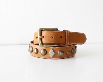 Calvin Klein Studded Belt • 90s Belt • Western Leather Belt • Studded Leather Belt • Vintage Belt • Brown Leather Belt • Vintage Belt |BT330