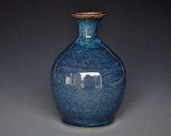 Blue Pottery Bud Vase Stoneware Flower Vase Handmade Ceramic Vase A