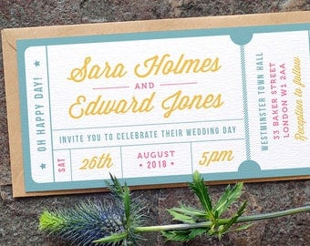 Concert or General Admission Ticket Wedding Invitation / 'Casual Script Ticket' Fun Modern Wedding Invite / Yellow Blue Pink / ONE SAMPLE