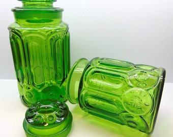 Vintage Green  Glass Kitchen Canisters