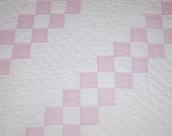 Pretty Pink Feed Sack and Creamy White Four Patch Vintage Quilt Piece — 34 by 27 Inches — for Photo Prop, Display Piece, or Projects