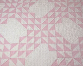 Intricate Quilting — Lovely Pink Feed Sack / White Ocean Waves Vintage Quilt Piece — 35 by 31 Inches — Photo Prop, Display Piece or Projects