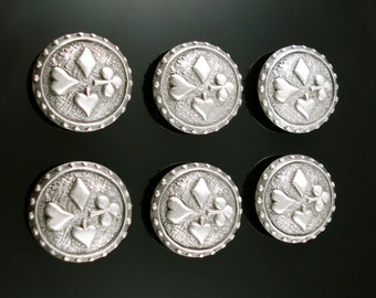 CARDS SYMBOLS pewter buttons - lot of 6 - Antiqued Silver or Gold