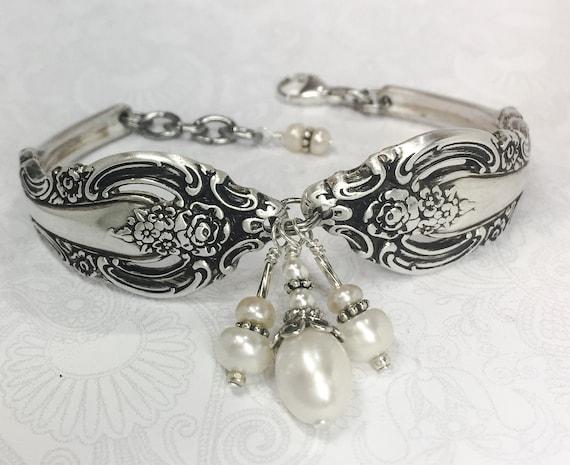 """Spoon Bracelet, White Freshwater Pearls, Silverware Jewelry """"Silver Artistry"""" 1965"""