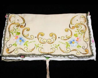 Antique Lingerie Case - Special 1910s 1920s Accessory Bag - Taupe Pink Gold Blue Society Embroidery & Metalwork Trim - Felt Roses - 48942