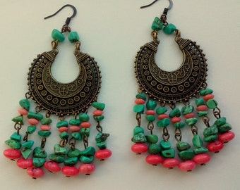 Gypsy turquoise coral earrings