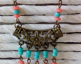 Genuine coral pendant necklace
