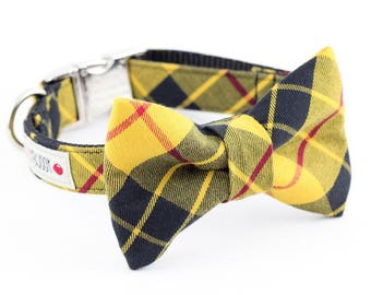 Mustard and Black Plaid Dog Bowtie Collar