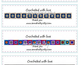 Printable  Cochet Wraps for dish cloths, wash cloths, baby items, PDF Personalized