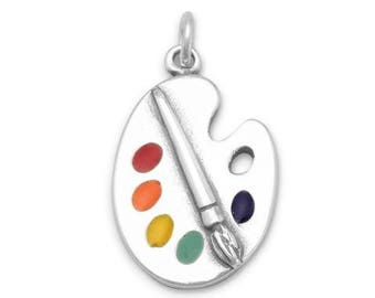 Painter's Palette with Enamel Colors Charm in Sterling Silver