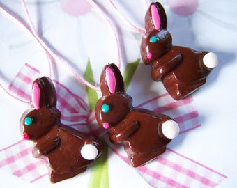 Chocolate Bunny Necklace Polymer Clay Kids Easter Jewelry
