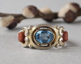 Vintage Czech Ring Aquamarine Color Stone Repurposed and Brown Leather Sterling Silver