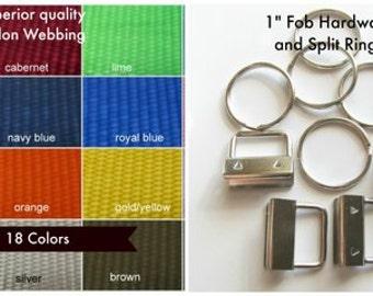 25 Key Fob Hardware and Webbing Kit, 25  10.5 Inch Nylon Heavy Weight Webbing Key Fob Kit Select Combination of any Webbing Colors