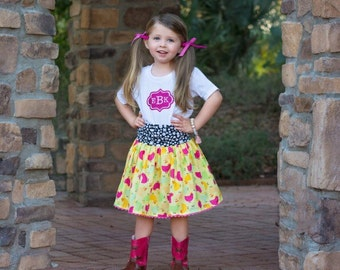 Girls Easter Spring Glitter Top and Skirt Set Little Chickies Collection