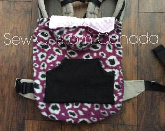 Ready to Ship Winter Soft Structured Carrier Cover - Babywearing winter cover- purple black and grey cheeta~ READY TO SHIP