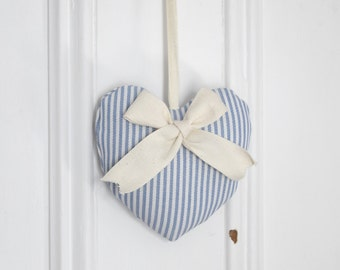Fabric heart to hang Sailor Blue and Ivory Striped Duck Natural Twill Ribbon Bow Ornament Door hanger Children's bedroom Decoration Baby Boy