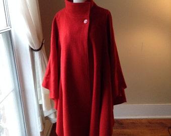 "Vintage Red Wool ""Batwing"" Cape Coat, Sz Med-Large"