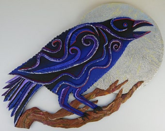 Raven Clock or Wall Art in Crazy Stripe Purple, Blue, Black, Silver and Wood Polymer Clay
